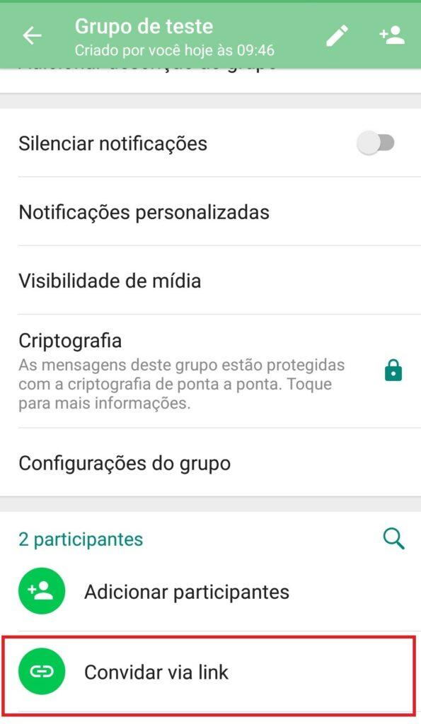 exemplo de como é possível convidar pessoas para grupos no whatsapp por meio de links