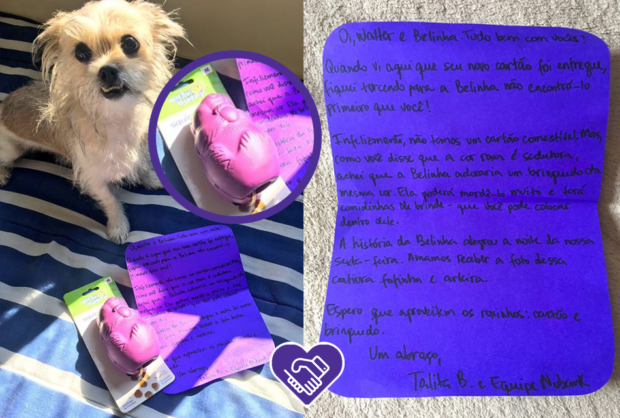 a foto mostra um cachorro e um bilhete escrito pelo nubank para um cliente. a prática de mandar recadinhos escritos à mão faz parte do unboxing experience