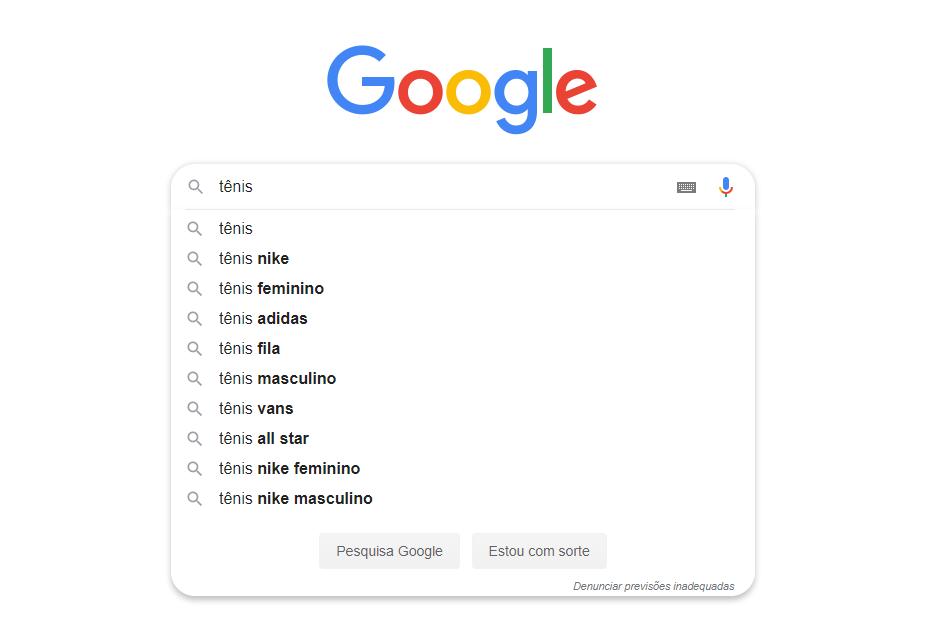 imagem mostra um exemplo de busca no google