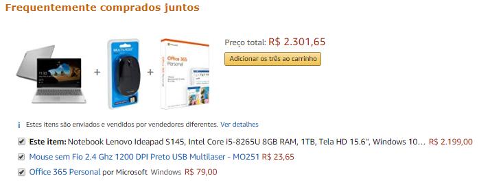 cross-selling no site da amazon brasil