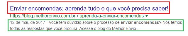 print exibe o snippet de uma busca no google, destacando o meta title (em vermelho) e a meta description (em verde)