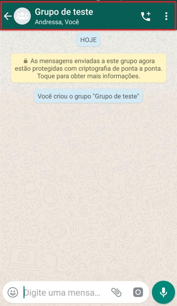 visualização de um grupo de teste criado no whatsapp