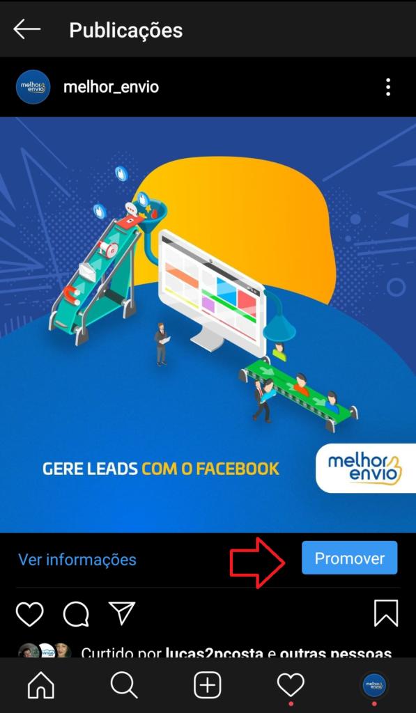 print que mostra como anunciar no Instagram Ads pelo aplicativo