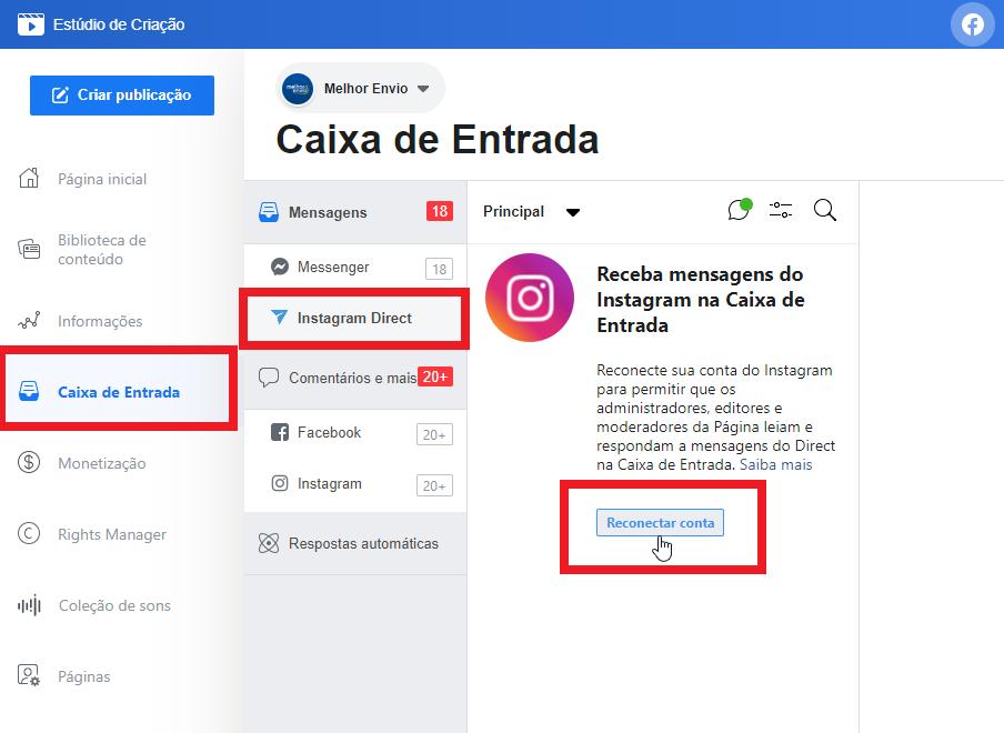 print do estúdio de criação do facebook, parte do tutorial de como programar postagens no instagram