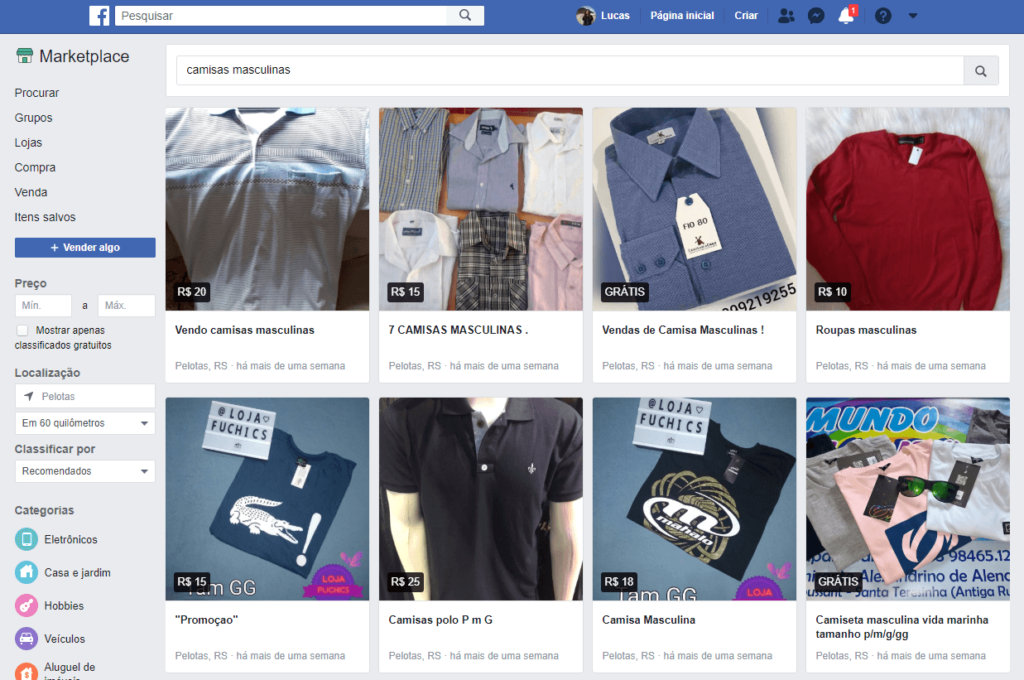 print mostra o marketplace do facebook, uma alternativa para vender na crise da covid-19