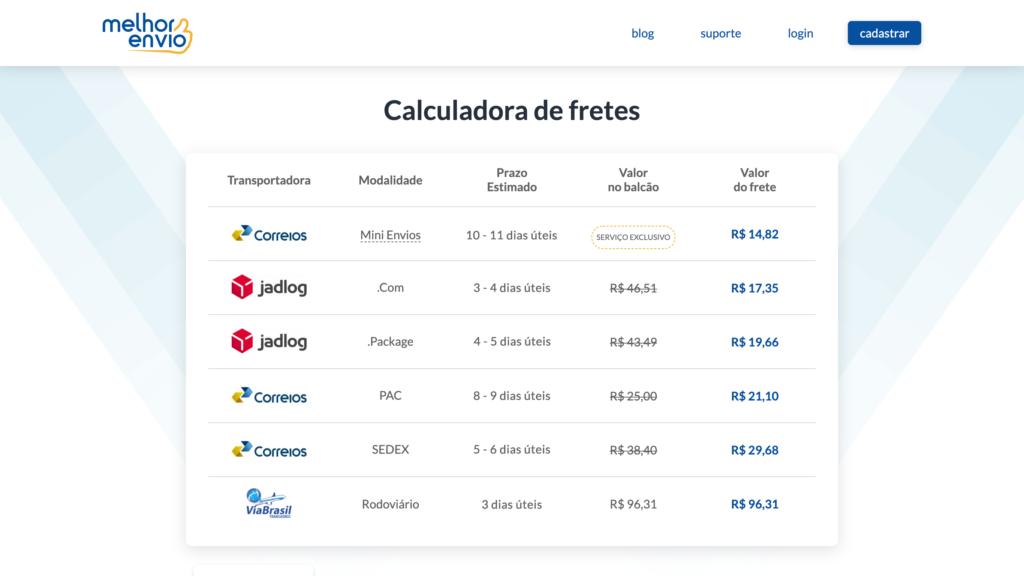 calculadora de fretes do melhor envio para gerar fretes pela internet durante crise do coronavírus