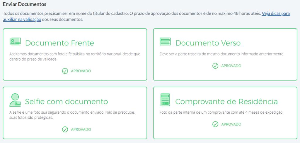 como aumentar o limite de envios no Melhor Envio: tela mostrando documentos aprovados