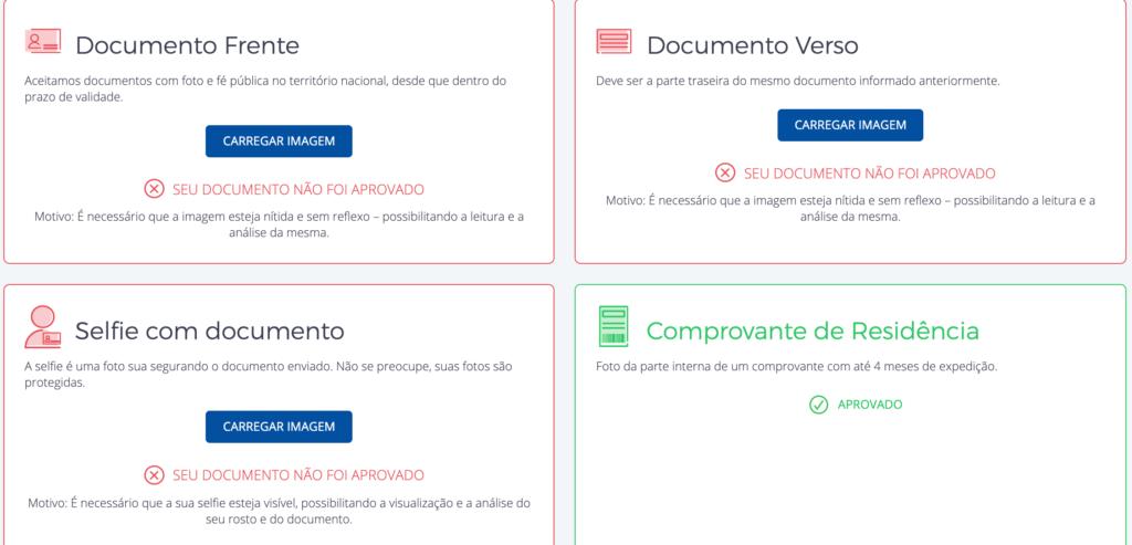 como aumentar o limite de envios no Melhor Envio: tela mostrando documentos não aprovados