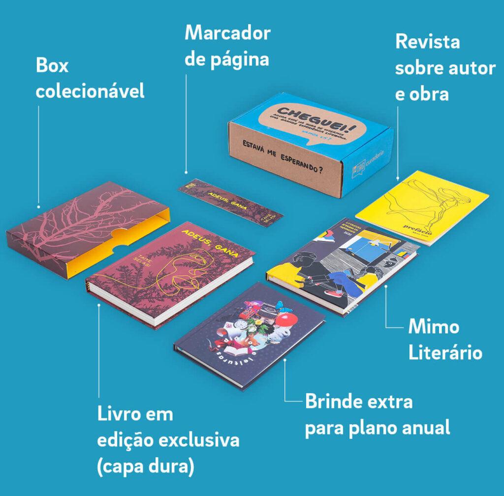 caixa de um clube de leitura que envia livros e presentes surpresa mensalmente para os assinantes. Usada para ilustrar que os clubes de assinatura estão entre os negócios em alta para 2020