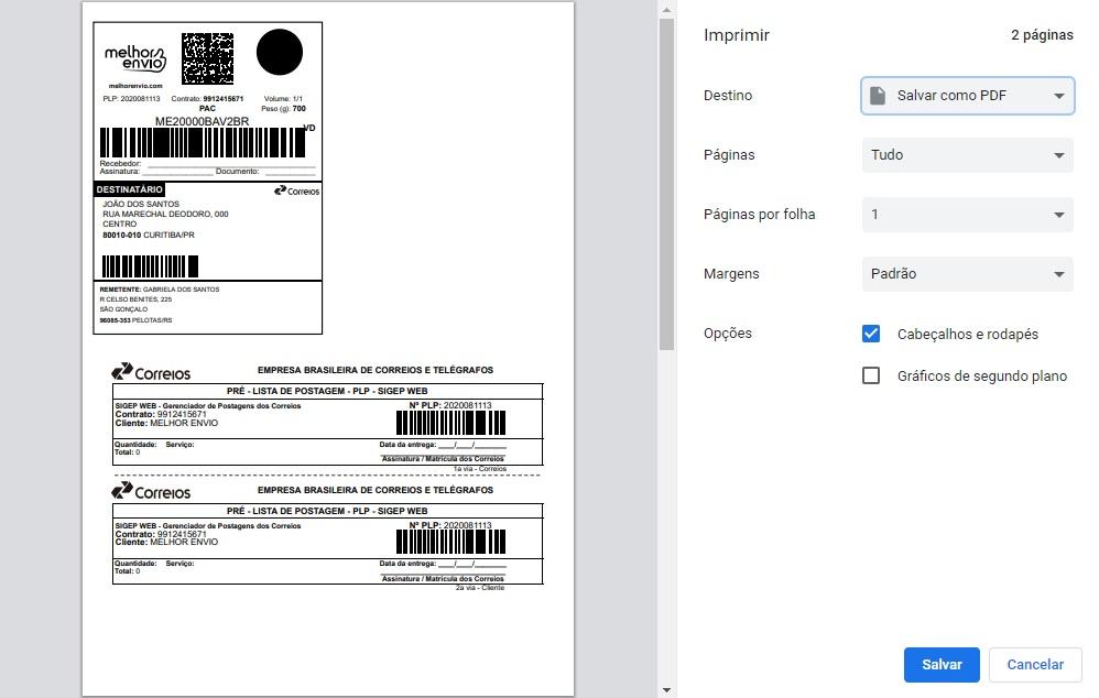 Salvar etiqueta de frete como PDF
