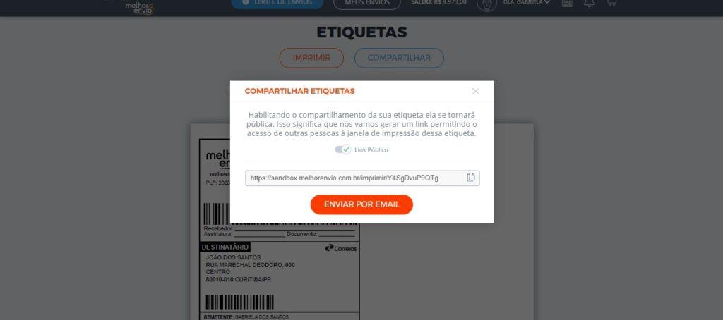 Enviar etiqueta de frete por e-mail