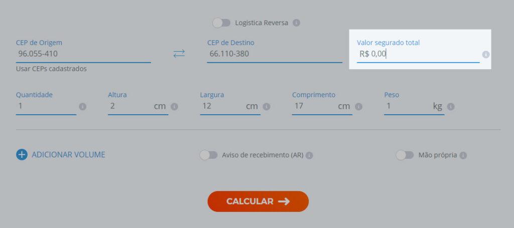"""imagem da calculadora de fretes do melhor envio destaca o campo """"valor segurado total"""""""