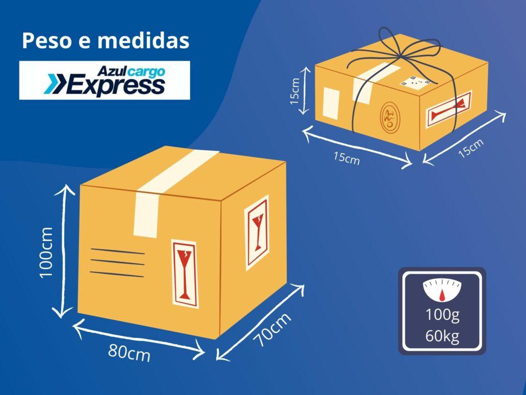 Peso e medidas de embalagens para postagem na transportadora Azul Cargo Express