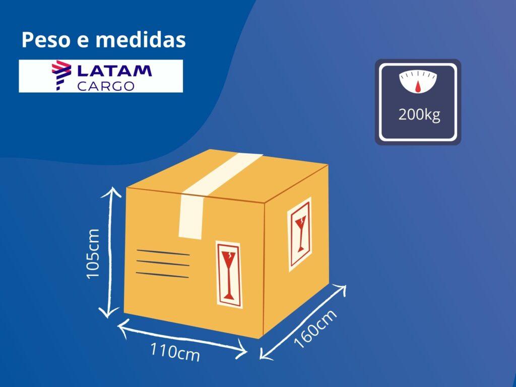 Peso e medidas de embalagens para postagem na transportadora LATAM Cargo