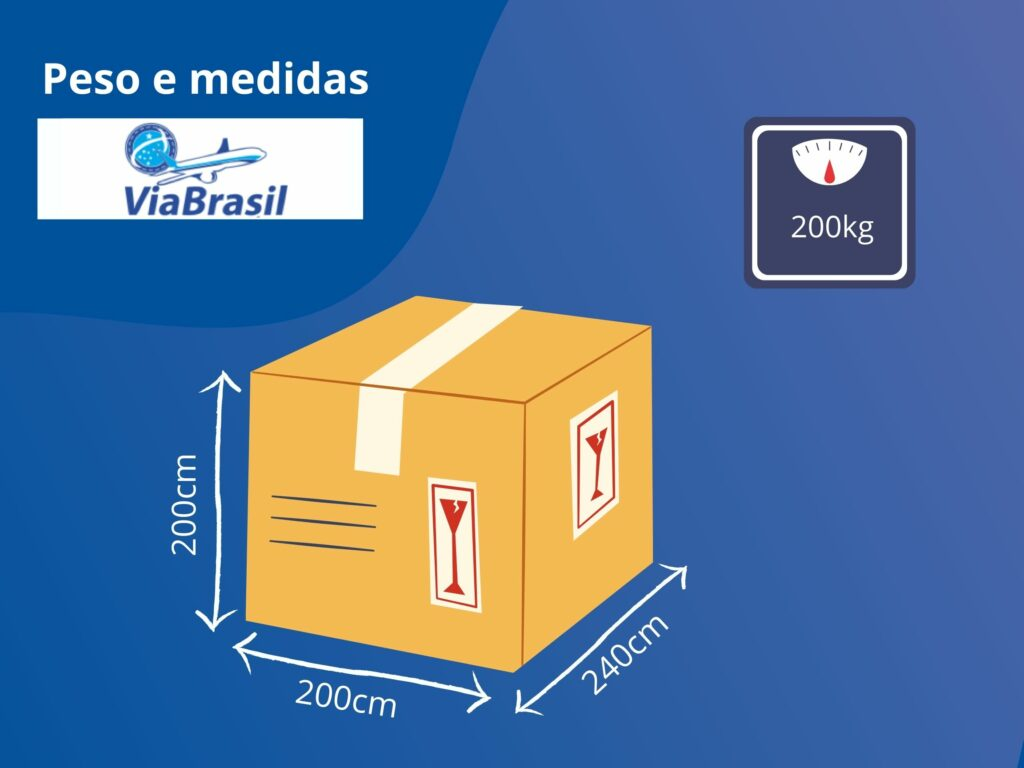 Peso e medidas de embalagens para postagem na transportadora ViaBrasil