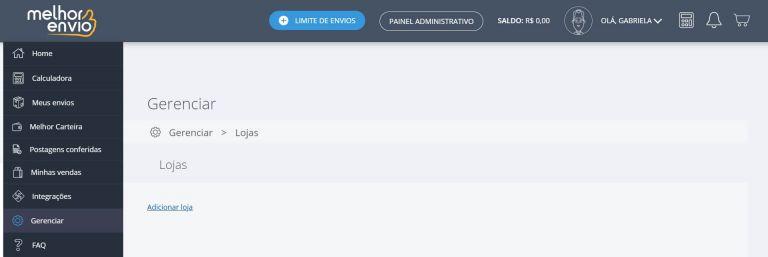 painel do melhor envio gerenciar perfil de lojas