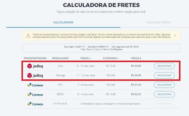 transportadora jadlog aparece na calculadora de fretes do melhor envio