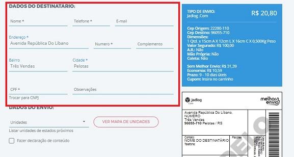 formulário de dados do destinatario no melhor envio