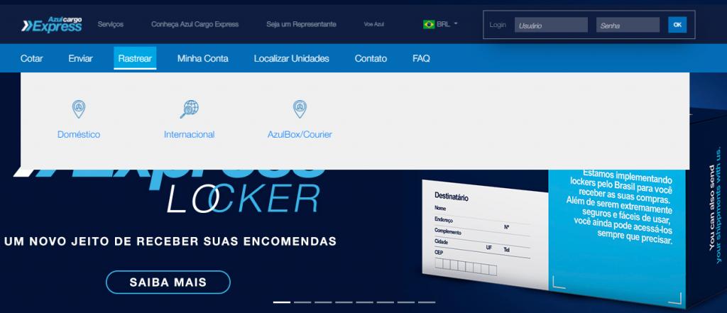 Página inicial do site da Azul Cargo Express (Reprodução)