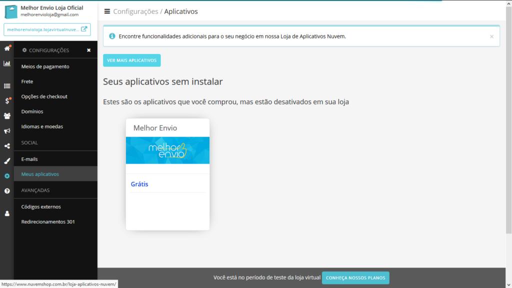 tela do Plugin de integracao Melhor Envio e Nuvemshop