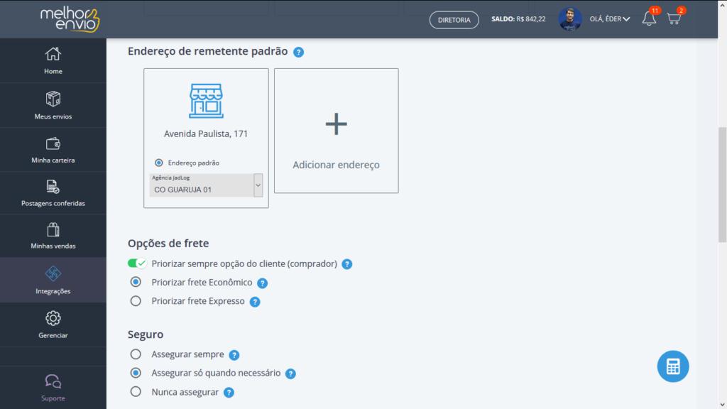 area de integracoes da plataforma do Melhor Envio