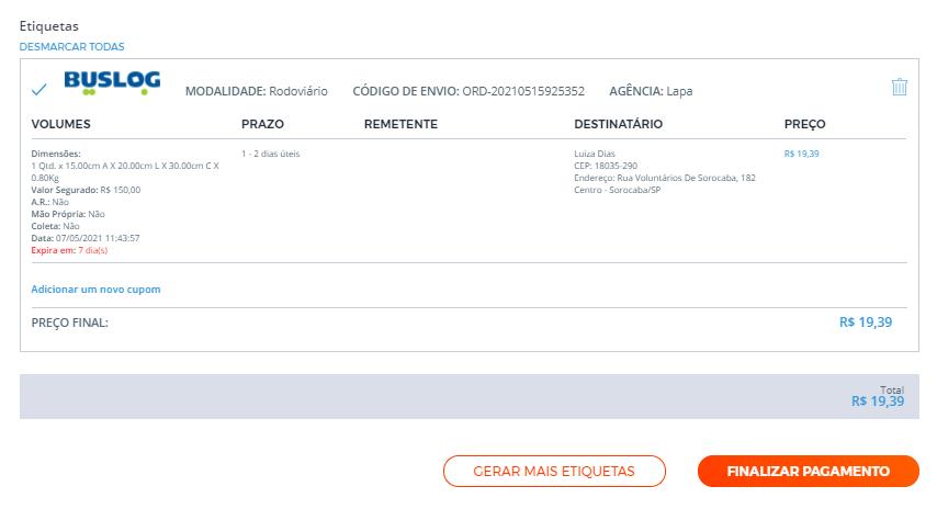 Essa é a tela de confirmação de etiqueta de frete da Buslog comprada pelo Melhor Envio.