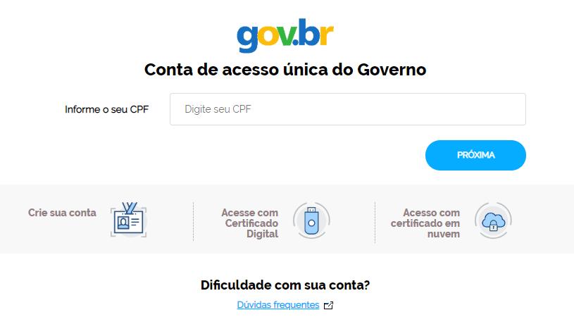 imagem mostra a tela de login na conta Brasil Cidadão