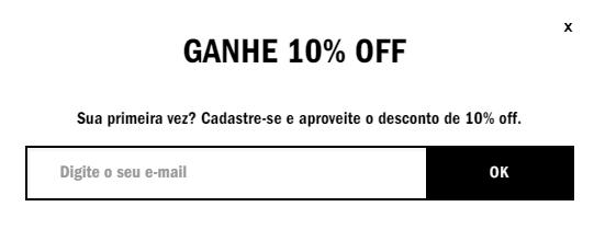 Exemplo de e-commerce que oferece desconto em troca do e-mail do usuário. Imagem: vans.com.br (reprodução)