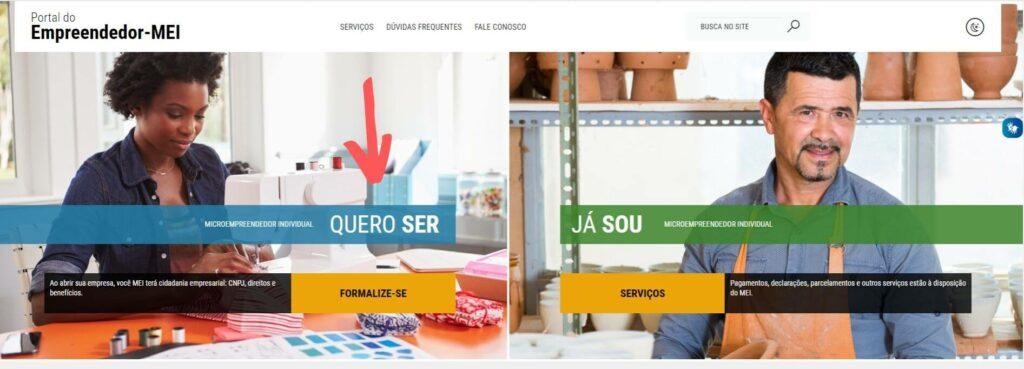 imagem mostra portal do empreendedor site no qual é possível fazer o cadastro como MEI